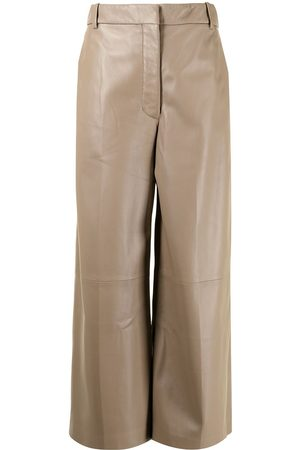 Joseph Wide-leg cropped leather trousers