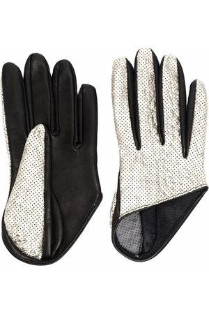 Manokhi Panelled metallic-effect leather gloves