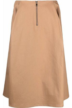 SOFIE D'HOORE Women Midi Skirts - A-line zip midi skirt - Neutrals