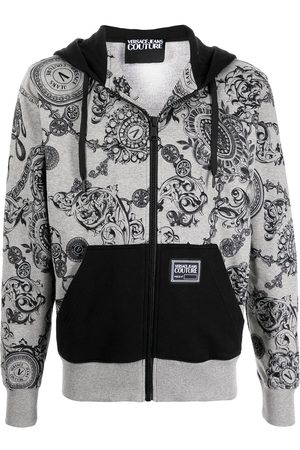 VERSACE Men Hoodies - Baroque print hoodie - Grey