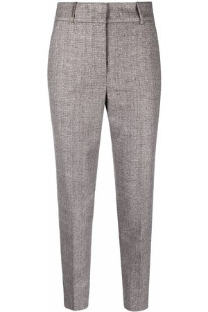 PESERICO SIGN Cropped tailored straight-leg trousers - Grey