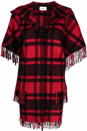 P.a.r.o.s.h. Women Ponchos & Capes - Check-print hooded poncho