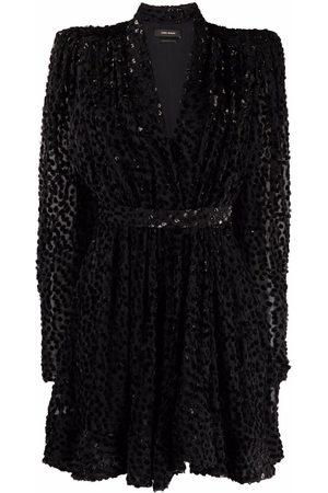 Isabel Marant Flocked V-neck mini dress