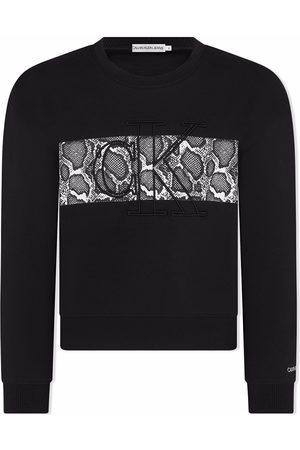 Calvin Klein Logo-embroidered snakeskin sweatshirt