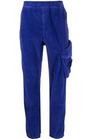 Stone Island Men Straight Leg Pants - Logo-patch corduroy trousers