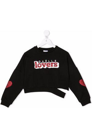 GAËLLE Cropped slogan print sweatshirt