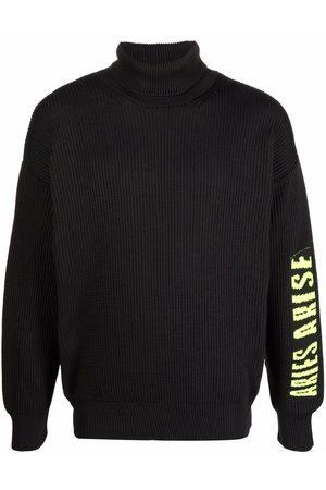 ARIES Intarsia-knit logo roll-neck jumper