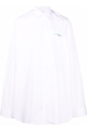 RAF SIMONS Synchronicity logo-embroidered oversized shirt