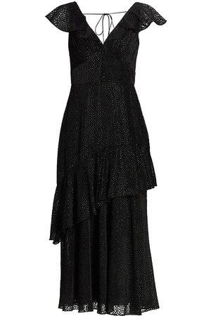 MONIQUE LHUILLIER Velvet Ruffle Dress