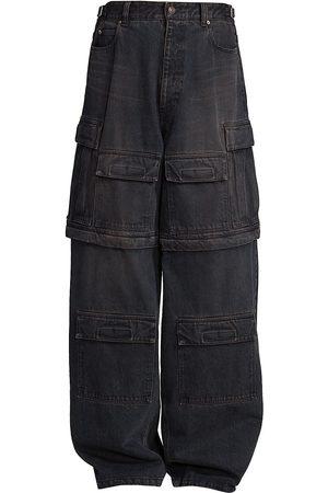 Balenciaga Men Wide Leg Pants - Wide-Leg Denim Cargo Pants