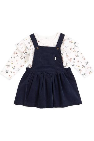 FIRSTS by petit lem Baby Girl's 2-Piece Petit Lem Firsts Top And Overall Dress Set