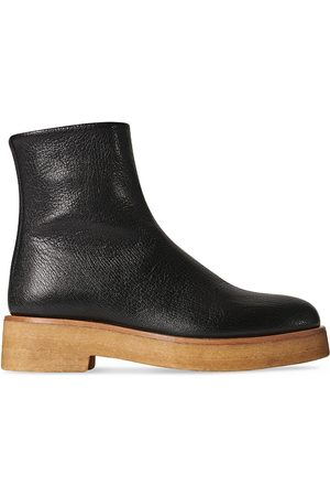 The Row Boris Leather Ankle Boots