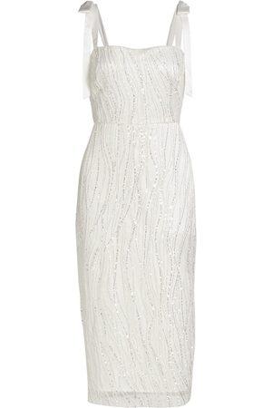 MONIQUE LHUILLIER Women Midi Dresses - Sequined Tie-Strap Midi Dress