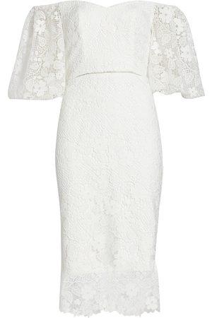 Ml Monique Lhuillier Women Strapless Dresses - Off-The-Shoulder Lace Midi Dress