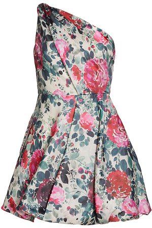 Ml Monique Lhuillier Floral One-Shoulder Mini Dress