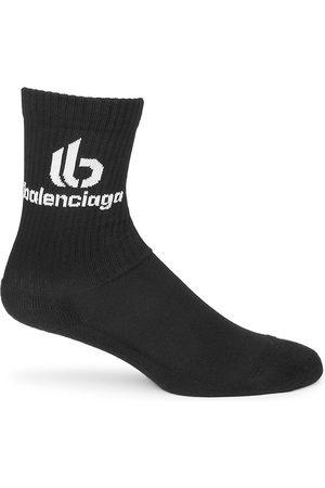 Balenciaga Men Socks - Double B Logo Crew Socks