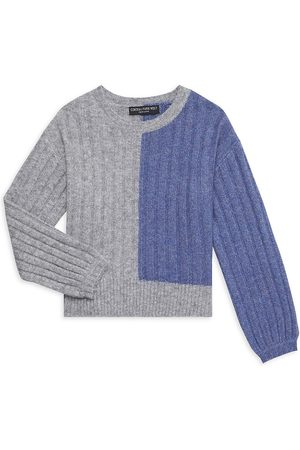 Central Park West Girl's Sienna Two-Tone Crewneck Sweater