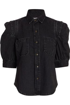 Frame Rosette-Sleeve Denim Shirt