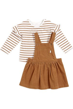 FIRSTS by petit lem Baby Girl's 2-Piece Striped Top & Overall Dress Set
