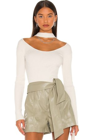 JONATHAN SIMKHAI Leah Twisted Cable Halter Top in Ivory.