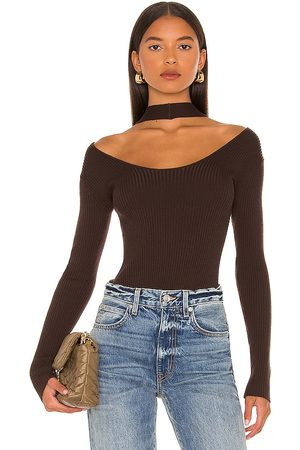 JONATHAN SIMKHAI Leah Twisted Cable Halter Top in Chocolate.