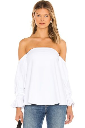 Susana Monaco Peasant Sleeve Off The Shoulder Top in White.