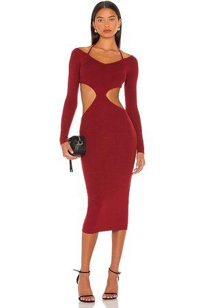 NBD Yael Cut Out Halter Dress in Burgundy.