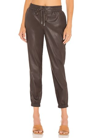 N:philanthropy Women Leather Pants - Scarlett Leather Jogger in Chocolate.