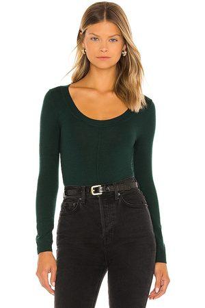 One Grey Day Gianna Bodysuit in Dark Green.