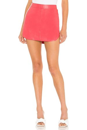 Karina Grimaldi Women Leather Skirts - Simon Leather Skirt in Coral.