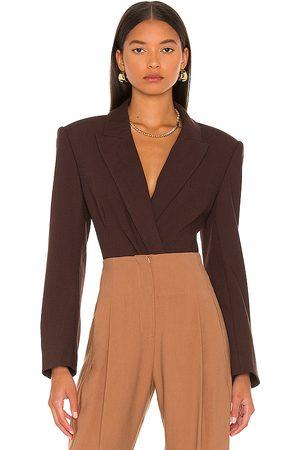 JONATHAN SIMKHAI Athena Blazer Bodysuit in Chocolate.