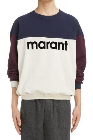 Isabel Marant Men's Aftone Flocked Logo Colorblock Sweatshirt