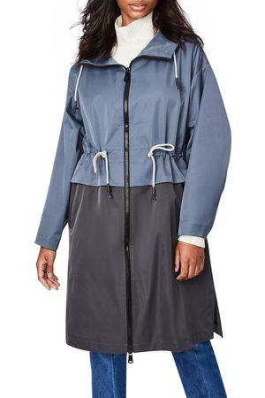 Bernardo Women's Two-Tone Long Hooded Raincoat