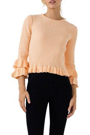 ENGLISH FACTORY Women's Rib Ruffle Edge Sweater
