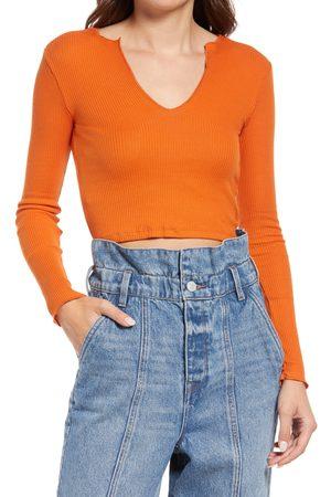 BDG Urban Outfitters Women's Nala Notch Neck Long Sleeve Crop T-Shirt