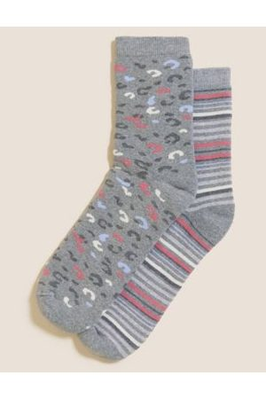 Marks & Spencer Women Ski Thermal Underwear - 2pk Cotton Thermal Ankle High Socks