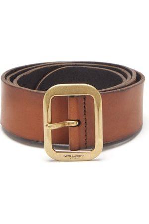 Saint Laurent Men Belts - Logo-engraved Leather Belt - Mens