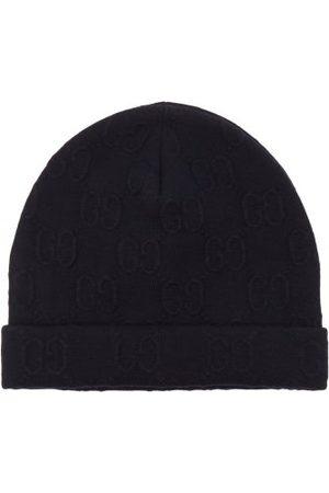 Gucci Men Beanies - GG-jacquard Wool-blend Beanie Hat - Mens - Navy