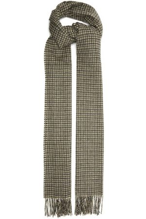 Saint Laurent Houndstooth-check Wool And Cashmere-blend Scarf - Womens - Grey Multi