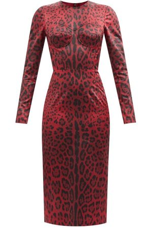 Dolce & Gabbana Leopard-print Satin Midi Dress - Womens