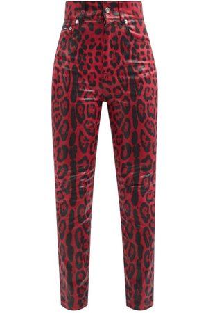 Dolce & Gabbana Women High Waisted - High-rise Leopard-print Slim-leg Jeans - Womens