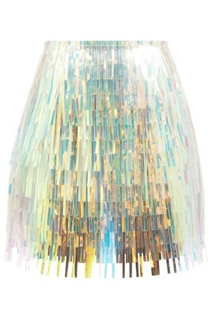 Dolce & Gabbana Women Mini Skirts - Fringed Metallic-pvc Skirt - Womens