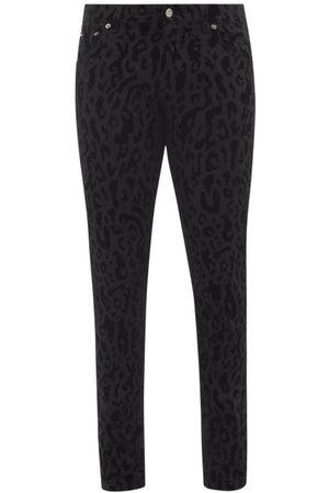 Dolce & Gabbana Leopard-flocked Slim-leg Jeans - Mens - Multi
