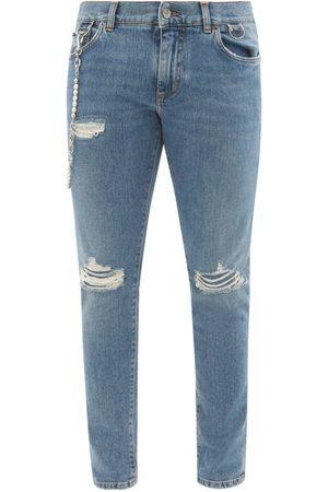 Dolce & Gabbana Chain-embellished Distressed Slim-leg Jeans - Mens
