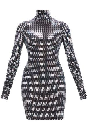 Dolce & Gabbana High-neck Sequinned Lamé-jersey Mini Dress - Womens