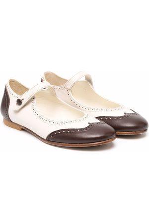 BONPOINT Girls Ballerinas - Contrasting toe-cap ballerina shoes - Neutrals