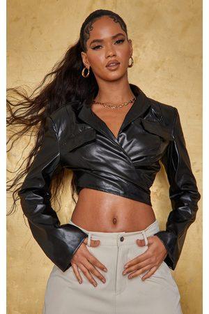 PRETTYLITTLETHING Faux Leather Wrap Front Pocket Detail Blazer