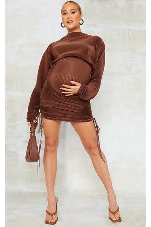 PRETTYLITTLETHING Maternity Chocolate Plisse Bodycon Mini Dress