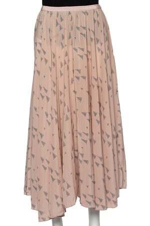 VALENTINO Triangle Printed Silk Midi Skirt S