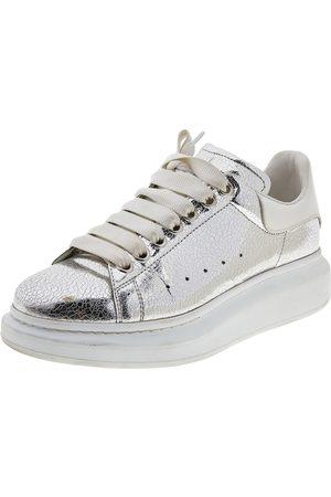 Alexander McQueen Metallic Leather Larry Platform Lace Up Sneakers Size 38.5